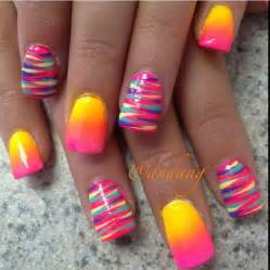 Striped and ombre nails acrylic nail designs