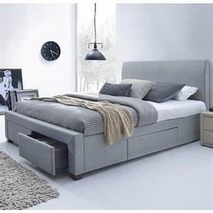 lit moderne gris 160 x 200cm avec sommier moreno With tapis enfant avec discount canapé lit