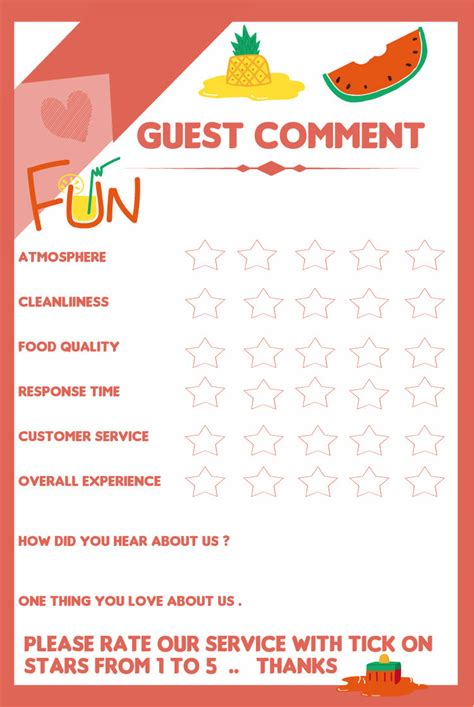 guest feedback form for restaurant entry 1 by tameregiziano for resturant customer feedback