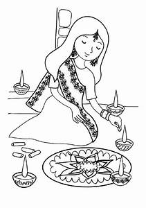Indian Girl Decorating Rangoli Coloring Page Color Luna
