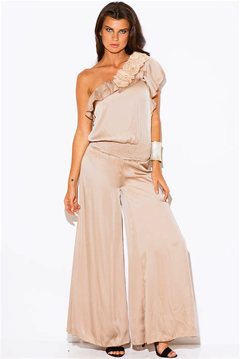 formal jumpsuits for weddings shop wholesale womens mocha beige one shoulder ruffle