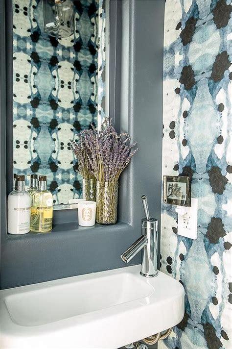 blue bathroom  eskayel wallpaper contemporary bathroom
