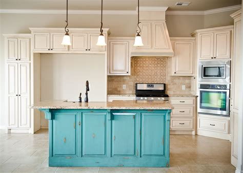 distressed turquoise island  cream glazed cabinets