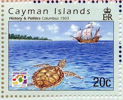 Cayman History Islands Columbus Christopher Caymannature Stamp