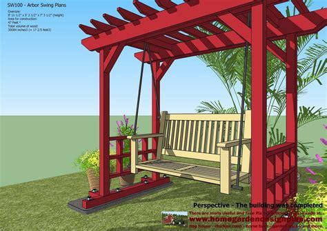home garden plans sw100 arbor swing plans swing