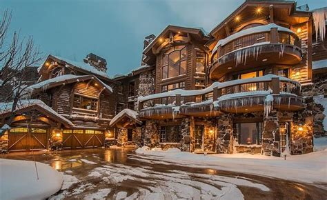 $9.4 Million Wood & Stone Mountaintop Mansion In Park City