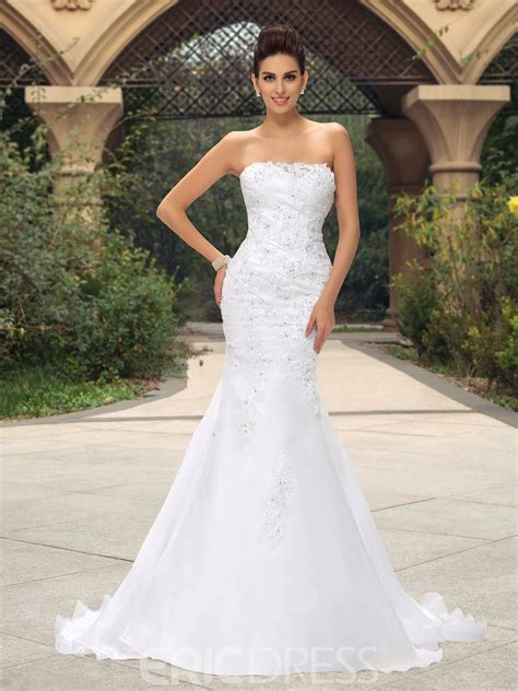 glamorous strapless appliques sequins mermaid wedding dress  ericdresscom