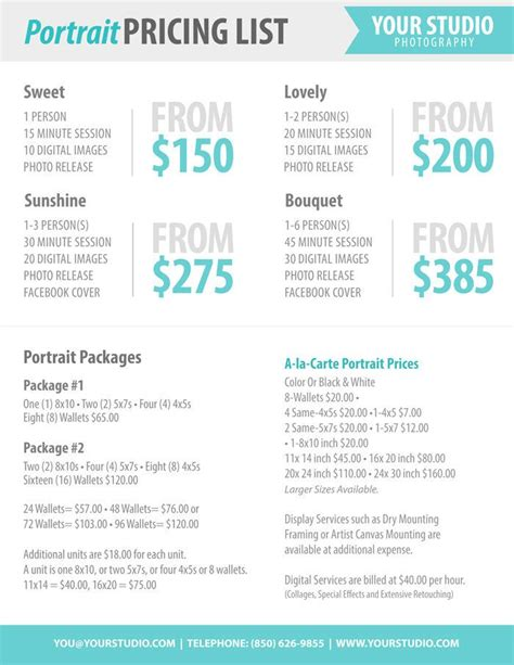 bureau price photography package pricing photographer price list marketing photoshop template