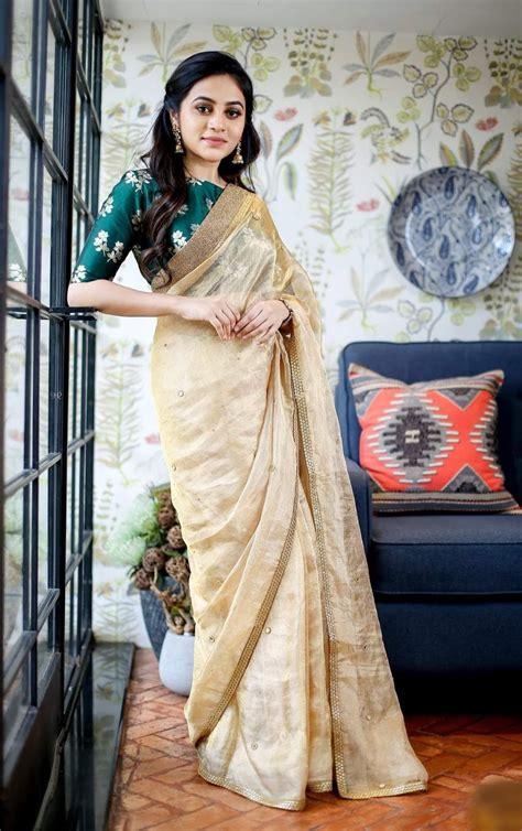 trendy green kerala saree blouse designs