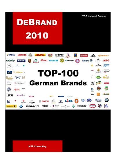 Debrand Top 100 German Brands  2010 (mpp Consulting