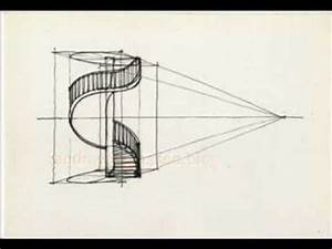 How to draw a spiral staircase - YouTube