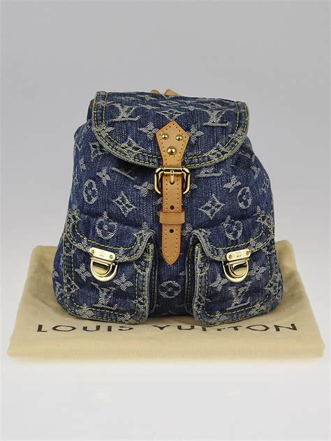louis vuitton blue denim monogram denim sac  dos pm backpack bag yoogis closet