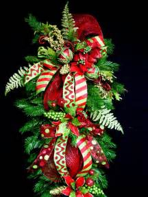 huge christmas teardrop vertical swag wreath 5 ft long red