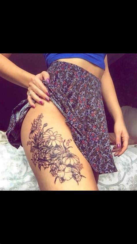 flower thigh tattoos ideas  pinterest side  thigh tattoo flower tattoos  thigh