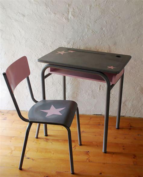 relooker bureau ecolier ensemble bureau et chaise d 39 écolier vintage relooké gris