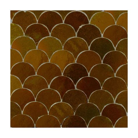 brown moroccan bathroom tiles fish scales mosaic