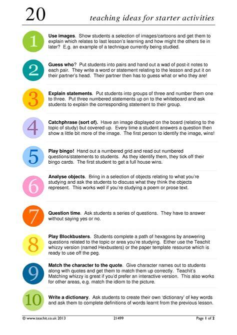 ks3 20 teaching ideas for teachit