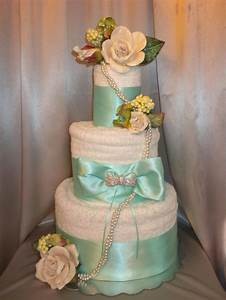 tiffany blue bridal shower towel cake centerpiece event With wedding shower towel cake centerpiece