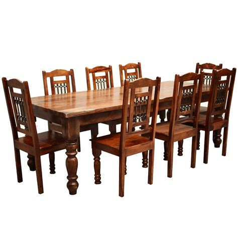all wood dining table rustic furniture solid wood large dining table 8 chair set