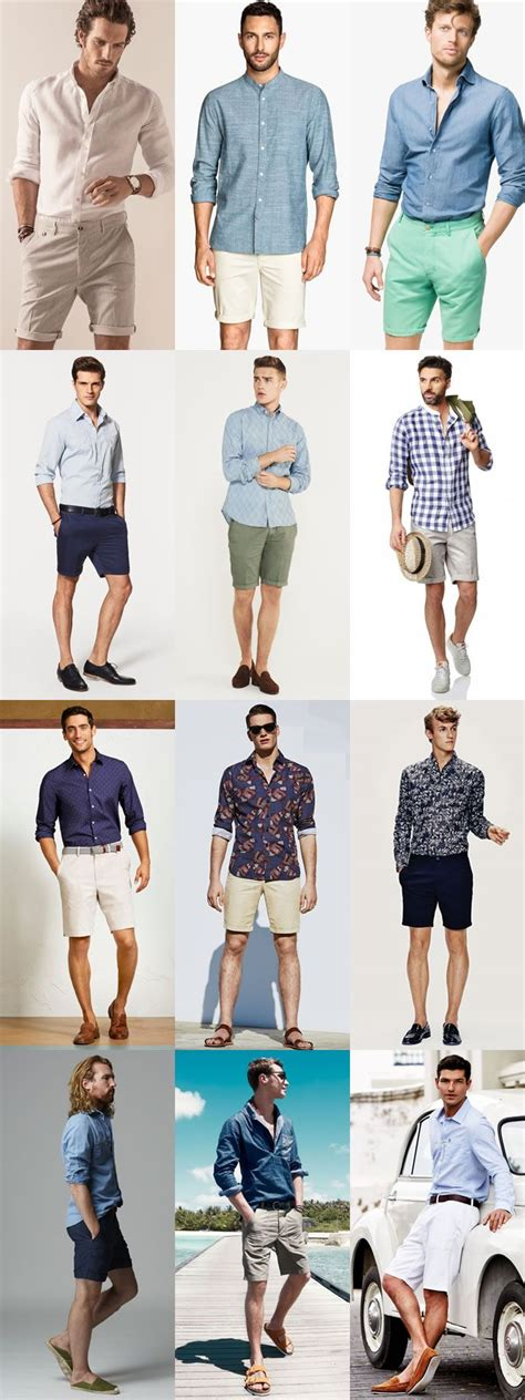 mens   smart casual summer outfit combinations long sleeved shirt  shorts combination