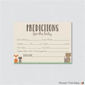 Baby Shower Prediction Cards Printable