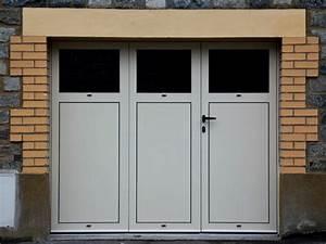 Porte de garage battante en aluminium 3 vantaux ou 4 for Porte de garage pvc 3 vantaux