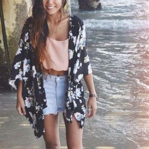 Shorts shirt flowered kimono black kimono blouse cardigan pink tank top crop tops peach cutout ...