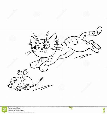 Cat Coloring Mouse Outline Playing Cartoon Toy