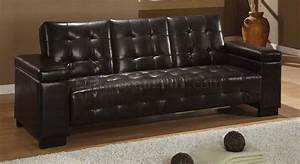 dark brown vinyl sofa bed w pull down table With vinyl sofa bed