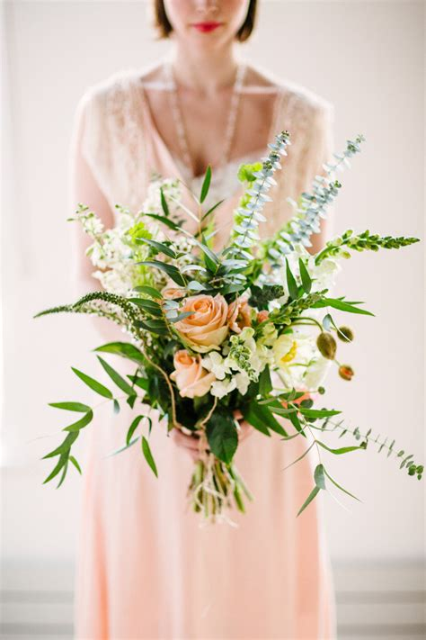 eucalyptus peach rose bouquet elizabeth anne designs