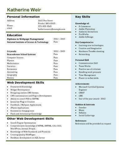 Freshman Resume by Web Developer Freshman Resume Template Resume Templates