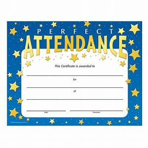 Perfect Attendance Stars Design Gold Foil-Stamped Certificates