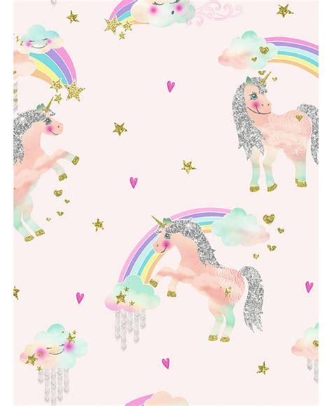 rainbow unicorn glitter wallpaper pink arthouse