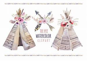 watercolor boho teepee bouquets illustrations on With 3d tipi wedding invitations