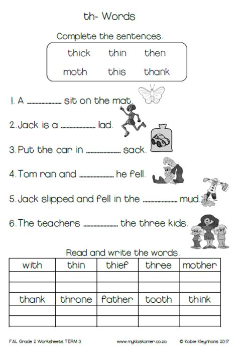grade 2 english first additional language worksheets term