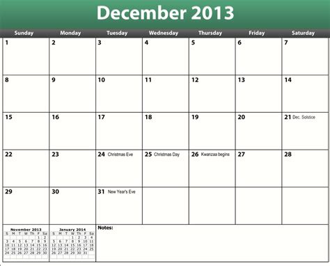 December 2013 Calendar Template Costumepartyrun