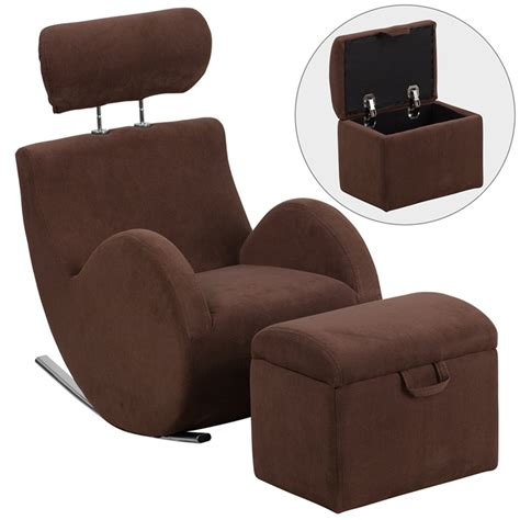 fabric chair with ottoman hercules series brown fabric rocking chair with storage