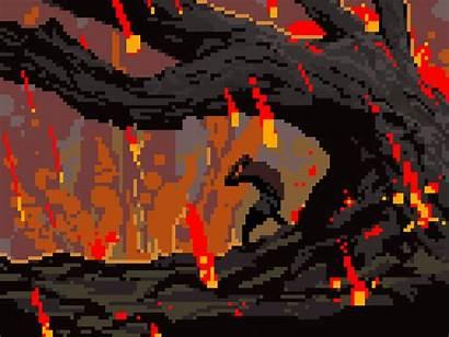 Pixel Rain Wolf Fire Animation Gods Anger