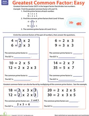 greatest common factor worksheets 4th grade greatest common factor easy worksheet education