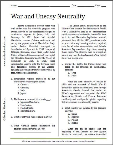 war  uneasy neutrality reading worksheet