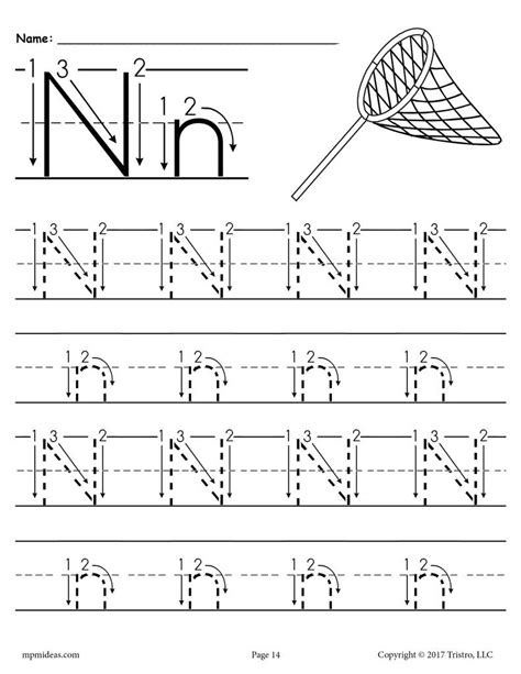 free printable letter n tracing worksheet with number and