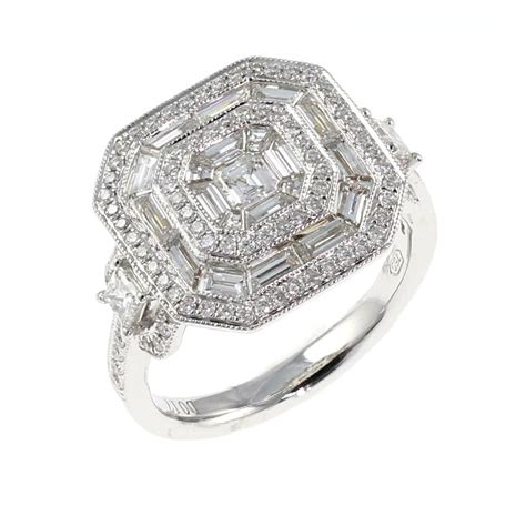 18ct white gold 1 64ct large square deco style