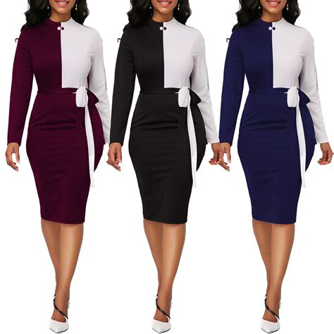 Awesome Women Casual Dresses Long Sleeve Office Wear