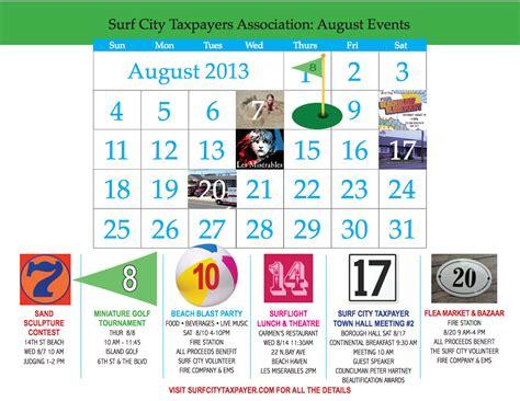 august calendar surfcitytaxpayercom