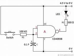 nand gate timer circuit delay on With singleledcircuitgif
