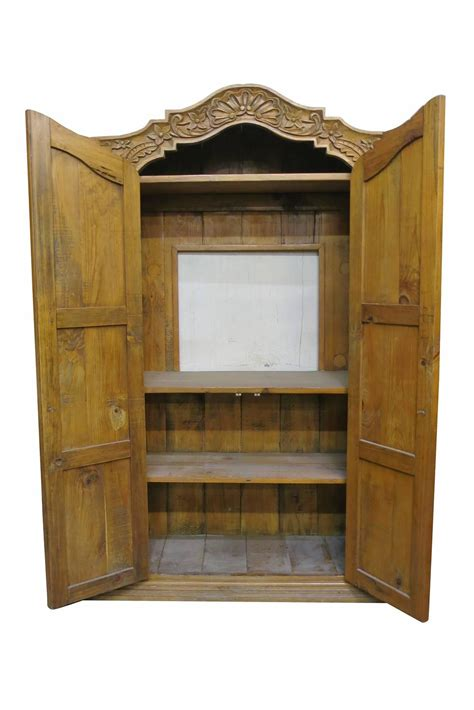 Wardrobe Cabinet For Sale by Carved Repurposed Antique Wood Wardrobe Tv Cabinet For
