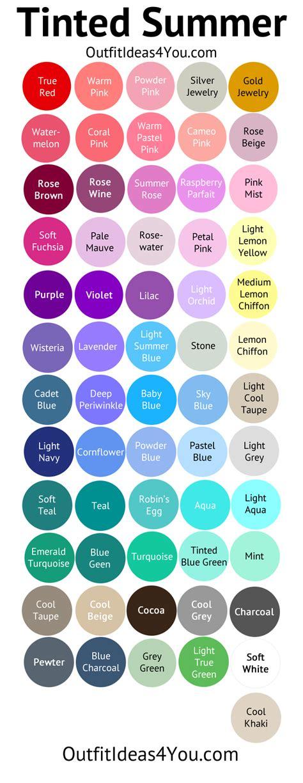 Tinted Summer Color Palette (light Summer  Light Summer Color Palette  Seasonal Color Analysis