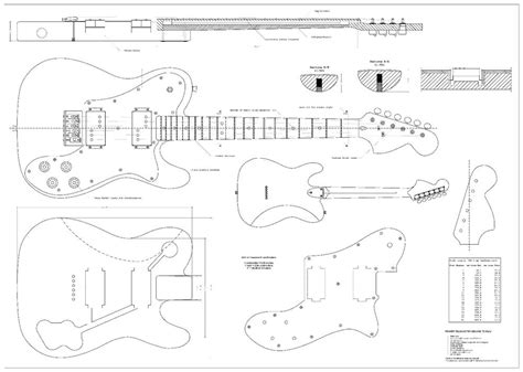 Fender Tele Deluxe 72 Electric Guitar Plans Full Scale