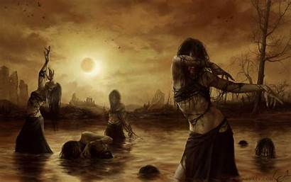 Fantasy Backgrounds Witch Witches Swamp Resolution Eclipse