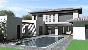 maison d39architecte contemporaine toit tuiles et terrasse With maison toit plat en l 17 le pool house de piscine